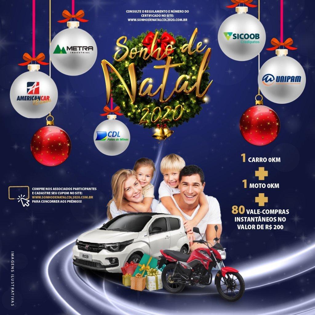 Neste sábado 09/01 vai acontecer o sorteio do carro 0km da campanha Sonho de natal da CDL Patos de minas.