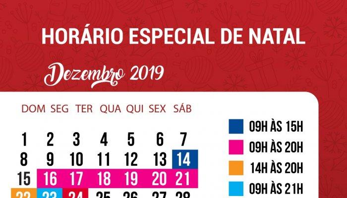 Sindcomércio divulga o horário especial de Natal 2019.